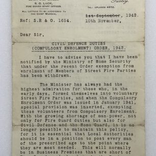 Letter to Mr. L. Ridley from Chief Warden, dated 10/11/1942. (Front page)   Robin Grainger