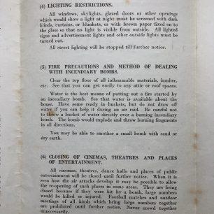 'War Emergency Information and Instructions' leaflet, 4/9/1939. Page 3.  | Robin Grainger
