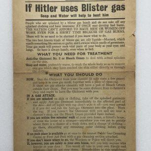 'If Hitler Uses Blister Gas', leaflet - 1942. (Front)  | Robin Grainger