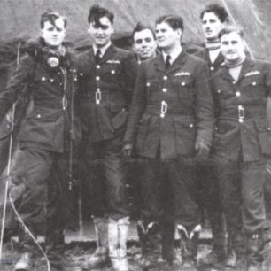 17 Squadron in make shift camp, France 1940. L-R: F/O. Harper, P/O. Whittaker, unknown,  F/O. Meredith, F/O. Jefferies, P/O. Manger.  | Aircrewremembered.com