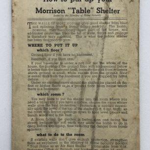 'How to put up your Morrison 'Table' Shelter.' Leaflet. Front cover.   Robin Grainger