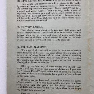 'War Emergency Information and Instructions' leaflet, 4/9/1939. Page 2.  | Robin Grainger