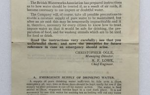'Hints to Householders on Water Purification' Leaflet - May 1941