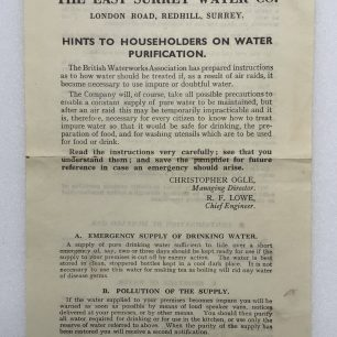 'Hints to Householders on Water Purification' Leaflet - May 1941 (Front) | Robin Grainger
