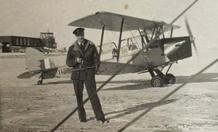 Horace with a De Havilland Canada DH-82C Tiger Moth, Calgary, 1942.  | ©️Terry Horne