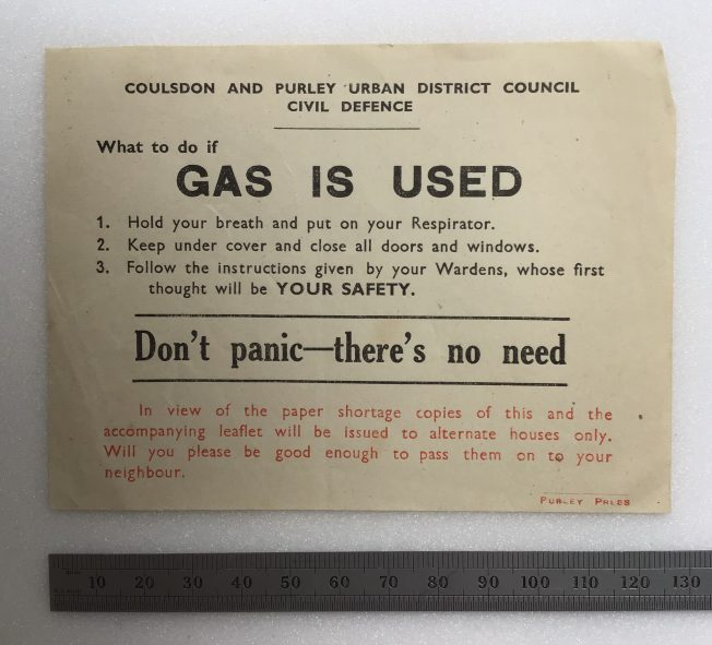 'What to do if Gas is Used' leaflet. Undated | Robin Grainger