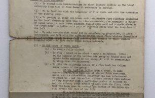 Fire Watchers' Duties - Information Sheet. January 1941