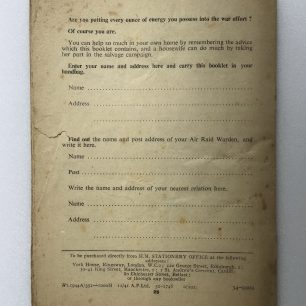 'A.R.P. at Home - Hints for Housewives.' Back cover.  | Robin Grainger