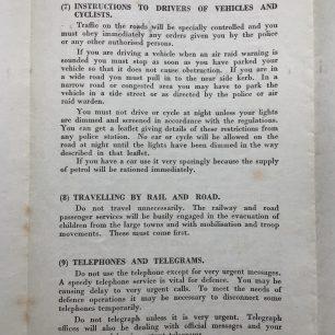 'War Emergency Information and Instructions' leaflet, 4/9/1939. Page 4. | Robin Grainger