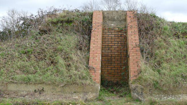 Blast Pen 2 Left Hand Doorway from January 2021 showing three element lintel and bricked-up doorway. | Neil Broughton