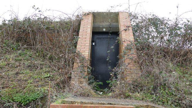 Blast Pen 2 Rear Doorway from January 2021 showing three element lintel and modern steel door. | Neil Broughton