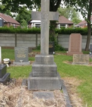 The grave of Sgt. Osborne's parents Samuel and Mary Christina, in Sale Brooklands Cemetery, plot V3296. Sgt. Osborne is remembered on the side of the stone.    EJ on findagrave