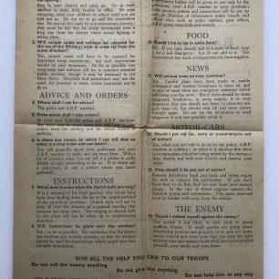 'Beating the Invader' Leaflet - Spring 1941, (Overleaf).  | Robin Grainger
