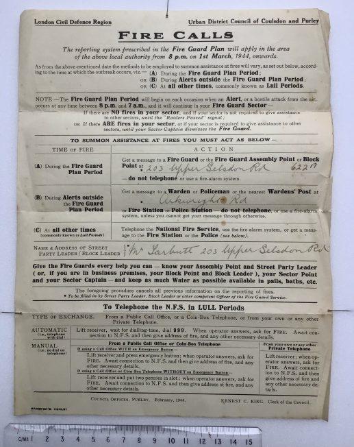 Fire Guard Plan Leaflet, February 1944.    Robin Grainger