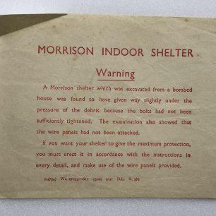 'How to put up your Morrison 'Table' Shelter.' Leaflet. Warning insert.    Robin Grainger