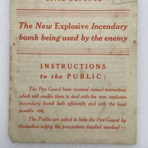 Explosive Incendiary Bomb Leaflet - August 1942. Front.  | Robin Grainger