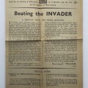'Beating the Invader' Leaflet - Spring 1941, (Front).  | Robin Grainger
