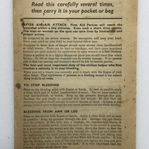 'First Aid in Brief' leaflet. (Front) | Robin Grainger