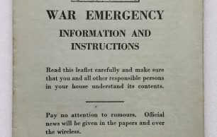 'War Emergency Information and Instructions' Leaflet dated 4th September, 1939