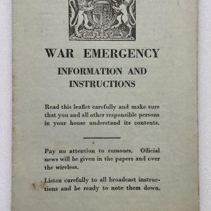 'War Emergency Information and Instructions' leaflet, 4/9/1939. Front cover | Robin Grainger