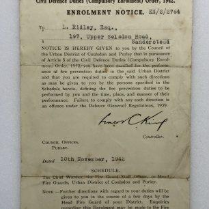 Compulsory Enrolment Order for Civil Defence Duties, November, 1942.   Robin Grainger
