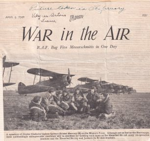 615 Squadron at Vitry-en-Artois with their Gladiators, February, 1940. 3rd from left, F/Lt. Sanders, 5th from left, P/O Horne.  | 'Flight' magazine