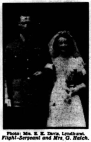 Sgt. George Hatch on his wedding day, with his bride Miss Irene Dewey. (Apologies for the poor quality photo)   Hampshire Advertiser, 8/7/1939.