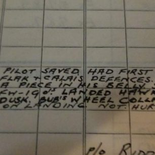 F/Sgt Hill's logbook. Detail from previous page. | Gord Hill