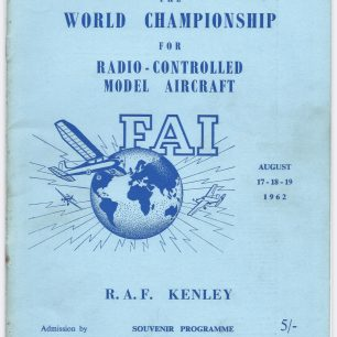 1962 World RC Aerobatic Championships Programme. Front cover | Great Britain Radio Controlled Aerobatic Association