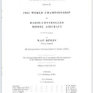1962 World RC Aerobatic Championships Programme. Page 3.  | GBRCAA