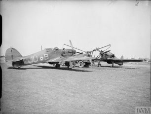 ROYAL AIR FORCE FIGHTER COMMAND, 1939-1945. (CH 64) Groundcrew refuelling Hawker Hurricane Mark Is (L2001 'JU-B' nearest) of No. 111 Squadron RAF at Wick, Caithness.  | Copyright: © IWM. Original Source: https://www.iwm.org.uk/collections/item/object/205208424