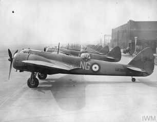 RAF FIGHTER COMMAND (HU 2303) Bristol Blenheim Mk 1Fs of No. 604 (County of Middlesex) Squadron at Northolt, April 1940. L6798 closest to camera. At the time