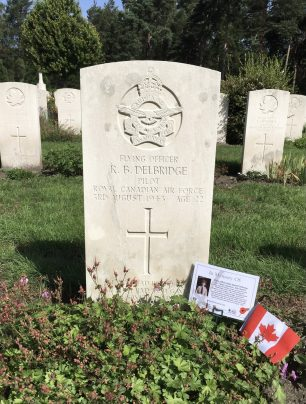 The grave of F/O Delbridge in Brookwood Military Cemetery.    Linda Duffield