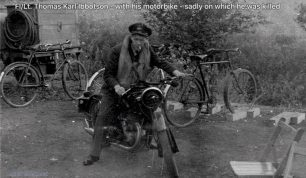 F/Lt. Ibbotson riding the motorcycle on which he lost his life.   Francois Dutil via Aircrewremembered
